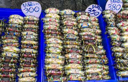 blue swimmer crab: crab were bind in local thailand market sale