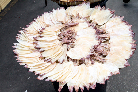 Dried Squid in market photo