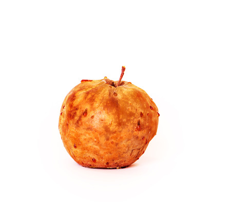 spoiled apple on white background