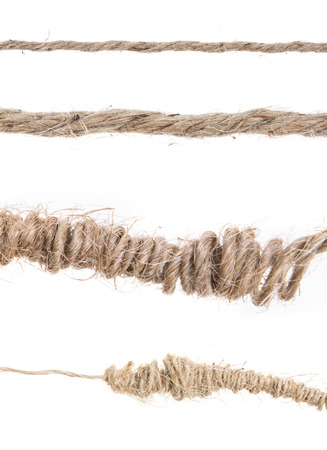 rope roll and tangled on white background photo