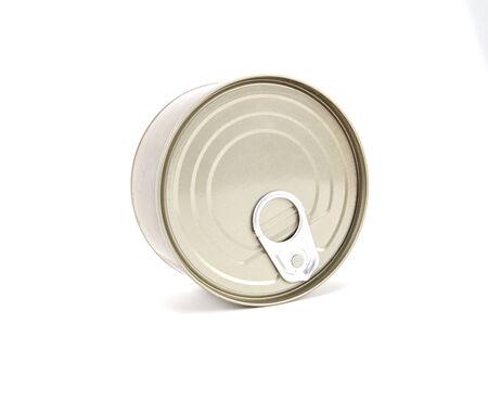 tin can light golden iron on white background