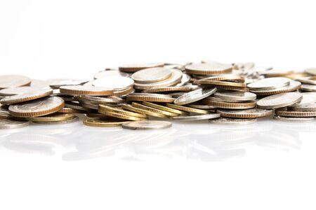 silver coins: closeup the silver coins stcking