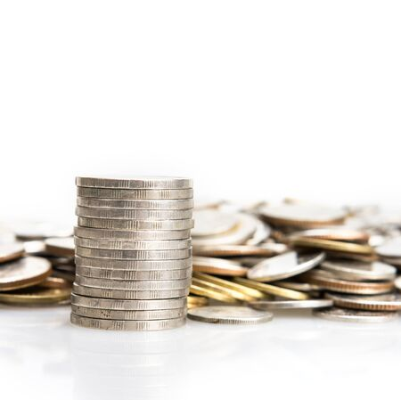 silver coins: closeup the silver coins stacking