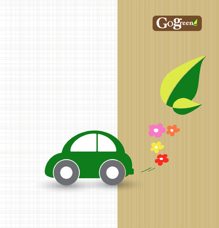 car leaf: save energy and earth concept with car transportation