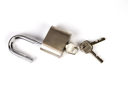 the Mealic padlock with the key on white background
