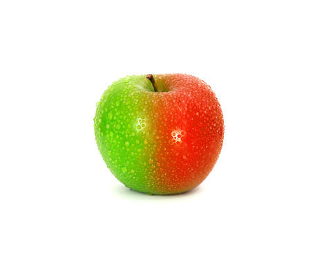 Half and half green red fresh apple with water droplet  change or modified concept