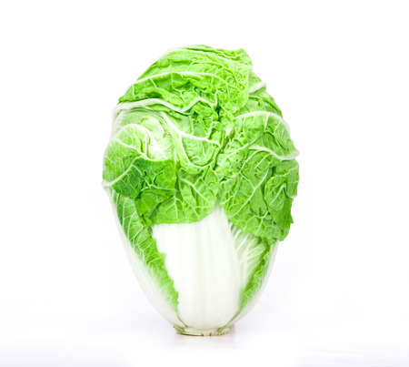 The fresh chinese cabbage which look like human head  on a white background photo
