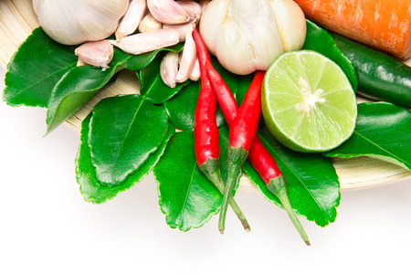 herb and spice ingredients for asian food on white background