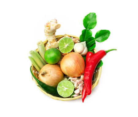 vegetable curry: the herb and spice ingredients on white background