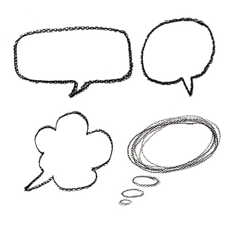 handgetekende tekstballonnen op aquarelpapier op een witte achtergrond