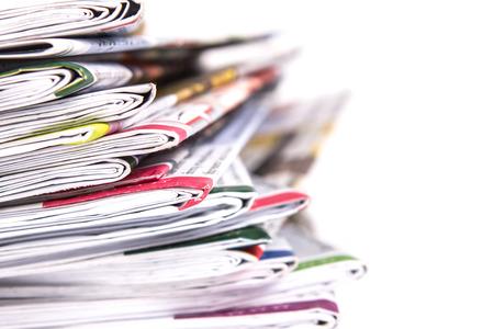 periodicos: primer plano pila del periódico Foto de archivo