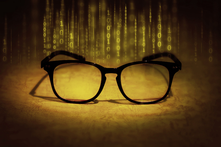 up code: the reading eyeglasses absorb binary data