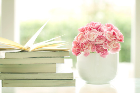 pastel colour: the fresh sweet and romantic pink carnation flower with books background , reading for relaxing and romance moment
