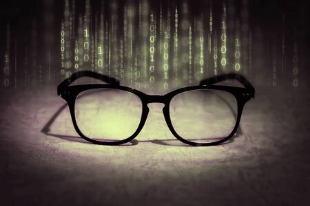 the reading eyeglasses absorb binary data , concept of future knowledge technology vision