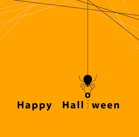 オレンジ色の背景にクモのハロウィーンのコンセプト
