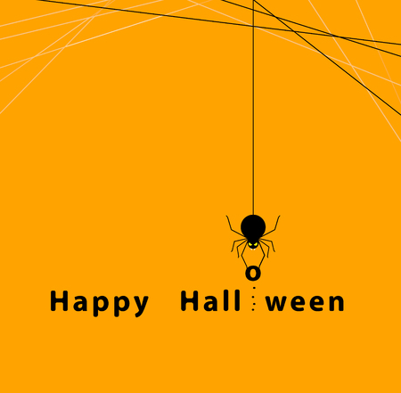 halloween concept with the spider on orange background