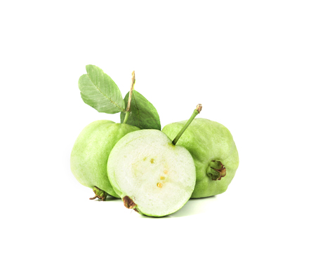 guava: the Fresh green Guava fruit  on white background