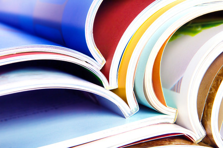 read magazine: stack of the colorful magazines Stock Photo