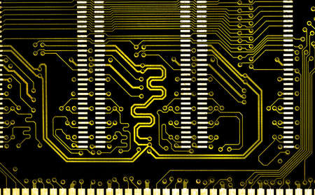 close up computer  golden line electronic circuit board