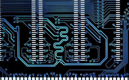 close up computer  blue line electronic circuit board