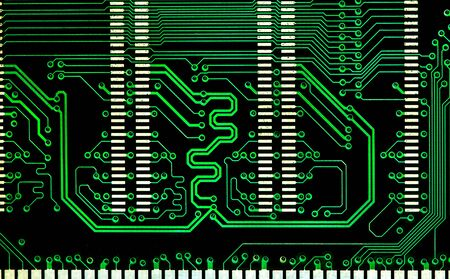 close up computer  green  line electronic circuit board