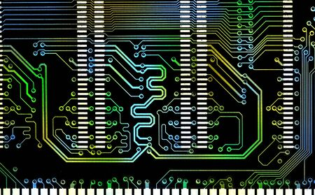 close up computer mixed color line electronic circuit board