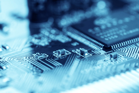 selective focus of close up the computer electronic circuit board Standard-Bild