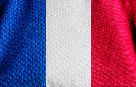 europe flag: the Canvas fabric texture of the flag  France