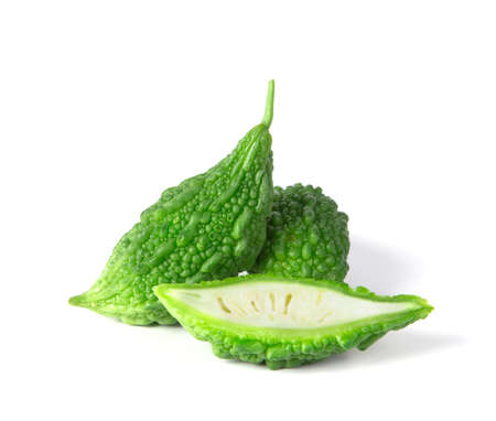 balsam: the Balsam Pear on white background Stock Photo