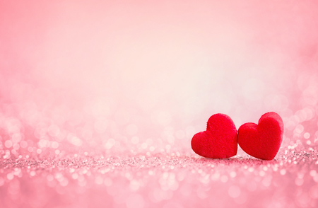 romantic love: The red Heart shapes on abstract light glitter background in love concept for valentines day with sweet and romantic moment Stock Photo