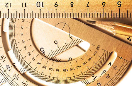 calibrate: golden color of close up a part of  the silver precision measurement tool
