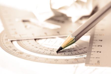 selective focus of  the pencil with precision measurement tool Stock Photo