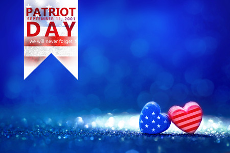 The American flag Heart shapes with Patriot Day September 11, 2001 , we will never forget concept Stock Photo