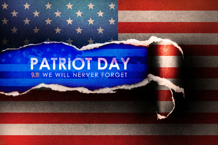 Patriot Day September 11, 2001 , we will never forget concept with abstract american  flag  Torn Paper Background Stock Photo