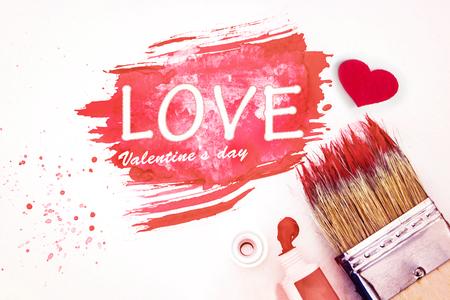 cierre de pincel de arte y la acuarela pintada de color rosa con arte blanco , día de san valentín concepto de amor Foto de archivo