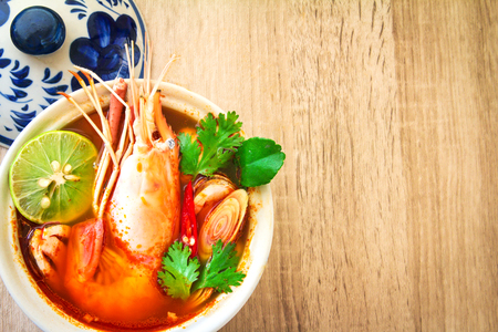 yam: Close up Asian Spicy soup with shrimp in  bowl , famous Thai food cuisine calling Tom Yum Kung
