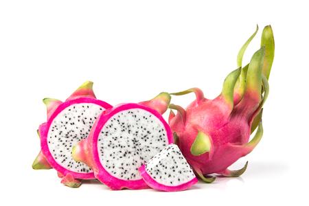 Fresh Dragon fruit or Pitahaya fruit  isolated  on white background