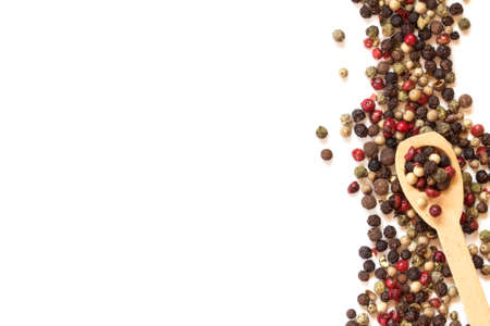 flavouring: Close up mixed type of peppercorns  on white background , top view or overhead shot