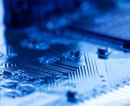 selective focus of close up the computer electronic circuit board Stock Photo