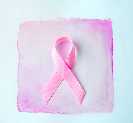 Sweet pink ribbon shape  for Breast Cancer Awareness symbol to promote  in october month campaign Stock Photo