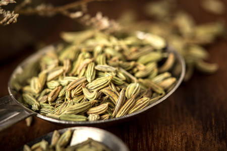 close up the fennel seed in  spoon on brown wooden table