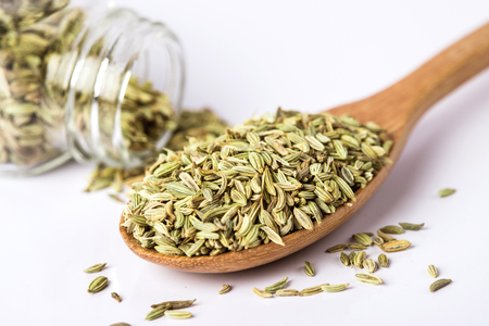 close up the fennel seed on white background