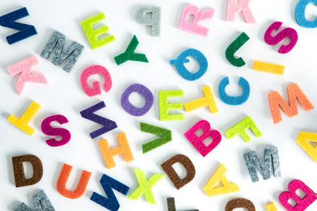 colorful ENGLISH alphabet  on white background ,English language learning concept