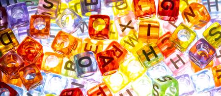 English alphabet cube as background