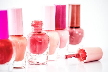 Close up bottles of color bright fashion  polish , cosmetics and beauty nail polish art concept