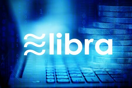 Libra coin cryptocurrency and blockchain, New digital currency concept