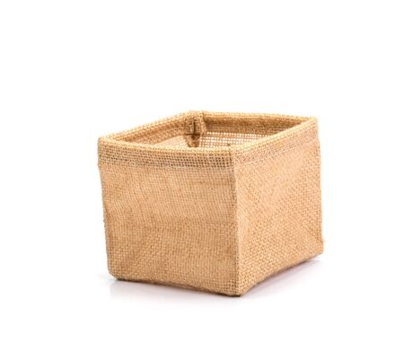 burlap bag box on white background