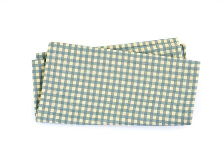 a green checkered napkin table clothes  on white background.