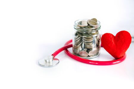 Health  insurance and Medical Healthcare heart disease concept, a red heart shape with stethoscope, financial healthcare