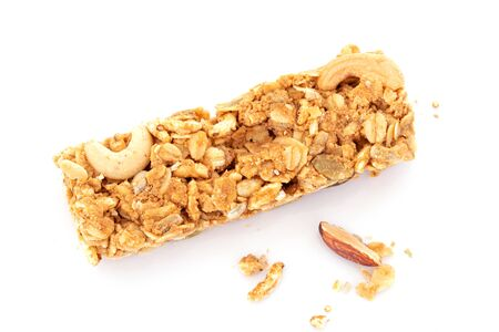 Close up homemade healthy granola crunchy biscuit bars , vegan friendly snack , healthy food concept Banque d'images